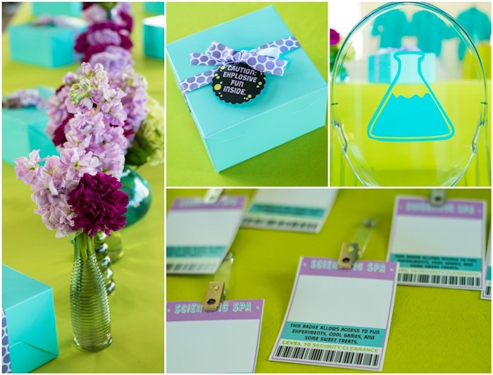 Elements from a Girly Scientific Spa Birthday Party via Kara's Party Ideas! KarasPartyIdeas.com (20)