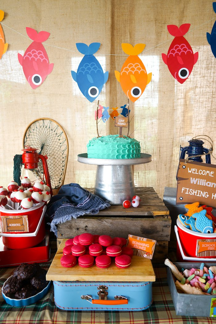 Sweet Table from a Gone Fishing Birthday Party via Kara's Party Ideas! KarasPartyIdeas.com (3)