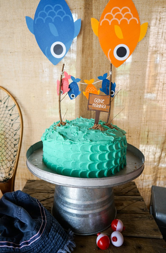 Kara 39 s party ideas william 39 s gone fishing birthday party for Fishing cake ideas