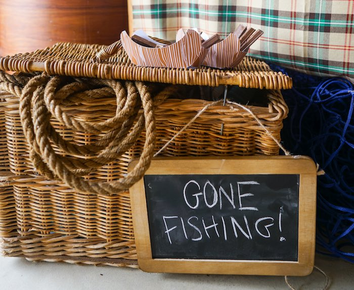 Vintage Basket Tackle Box + Decor from a Gone Fishing Birthday Party via Kara's Party Ideas! KarasPartyIdeas.com (14)