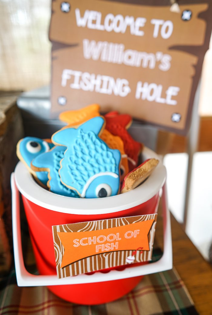 Fish Cookies + School of Fish from a Gone Fishing Birthday Party via Kara's Party Ideas! KarasPartyIdeas.com (13)