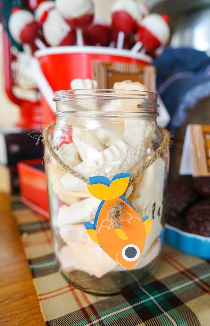 Marshmallow Fish from a Gone Fishing Birthday Party via Kara's Party Ideas! KarasPartyIdeas.com (11)