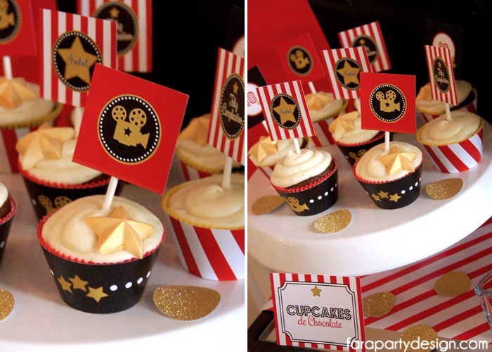 Cupcakes from a Hollywood Glam Birthday Party via Kara's Party Ideas | The Place for All Things Party! KarasPartyIdeas.com (9)