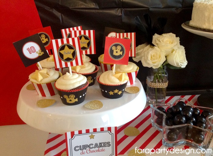 Cupcakes from a Hollywood Glam Birthday Party via Kara's Party Ideas | The Place for All Things Party! KarasPartyIdeas.com (8)