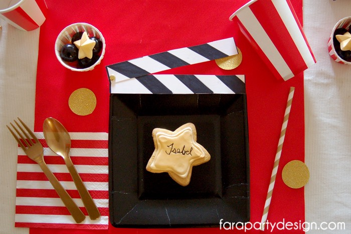 Action Clapper Place Setting from a Hollywood Glam Birthday Party via Kara's Party Ideas | The Place for All Things Party! KarasPartyIdeas.com (7)