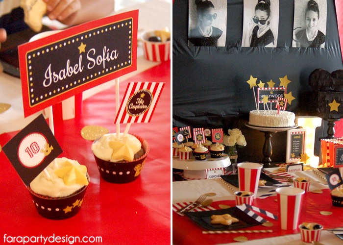 Party Setup + Mini Name Banner from a Hollywood Glam Birthday Party via Kara's Party Ideas | The Place for All Things Party! KarasPartyIdeas.com (6)