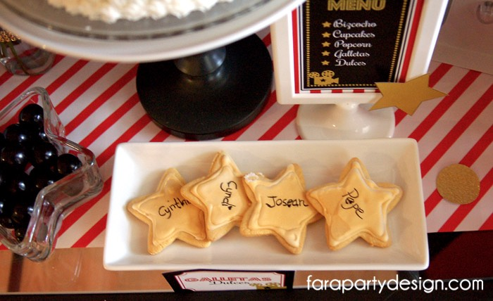Personalized Star Cookies from a Hollywood Glam Birthday Party via Kara's Party Ideas | The Place for All Things Party! KarasPartyIdeas.com (5)
