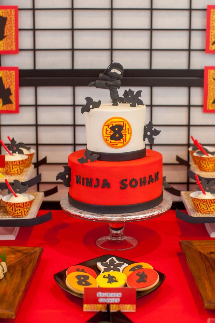 Cake from a Japanese Inspired Ninja Party via Kara's Party Ideas KarasPartyIdeas.com (48)