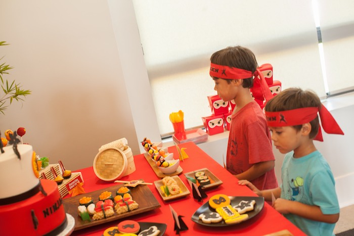Little Boys at the Sweet Table from a Japanese Inspired Ninja Party via Kara's Party Ideas KarasPartyIdeas.com (47)