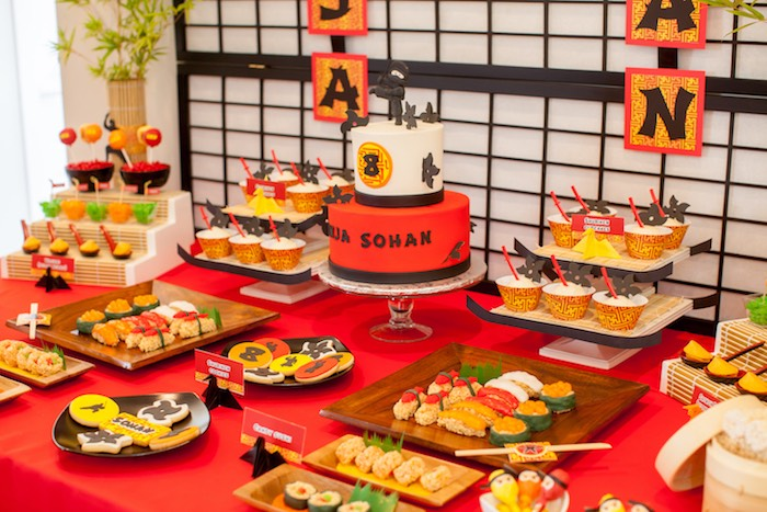 Side-view of a Sweet Table from a Japanese Inspired Ninja Party via Kara's Party Ideas KarasPartyIdeas.com (69)