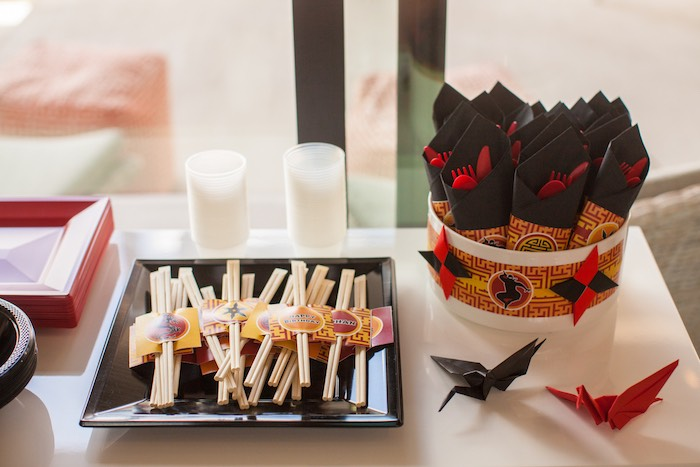 Chopsticks + Utensil Packs from a Japanese Inspired Ninja Party via Kara's Party Ideas KarasPartyIdeas.com (9)