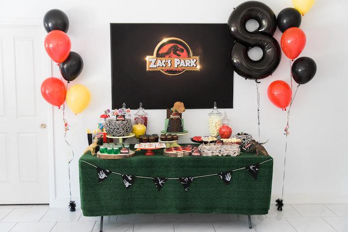 Full Dessert Table Display From A Jurassic Park Dinosaur Birthday Party Via Karas Ideas