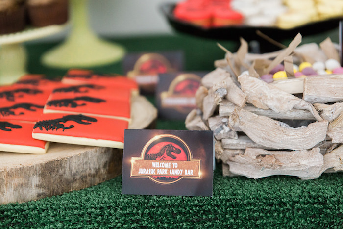 Label Sweet Table Detail From A Jurassic Park Dinosaur Birthday Party Via Karas Ideas
