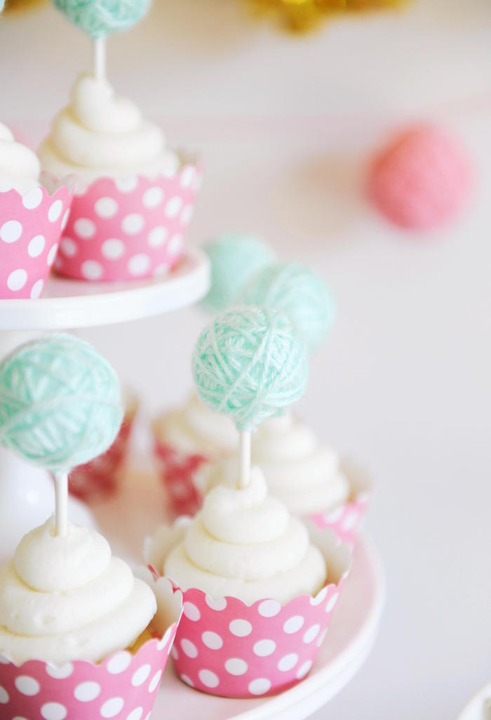 Cupcakes with Yarn Ball Toppers from a Kitten Party via Kara's Party Ideas | KarasPartyIdeas.com | The Place for All Things Party! (8)