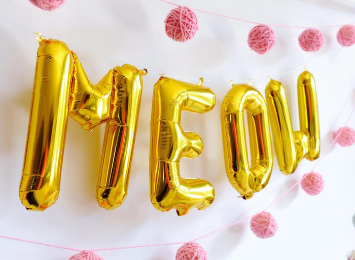"Gold Foil Letter ""Meow"" Balloon Banner from a Kitten Party via Kara's Party Ideas 