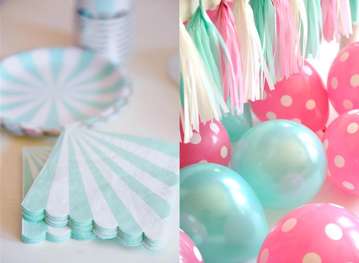 Partyware + Decor (Balloons + Tassel Garland) from a Kitten Party via Kara's Party Ideas | KarasPartyIdeas.com | The Place for All Things Party! (3)