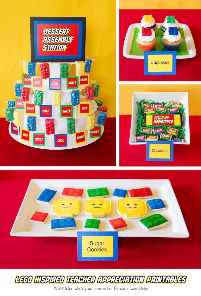 Desserts + Sweets from a Lego Inspired Teacher Appreciation Party via Kara's Party Ideas! KarasPartyIdeas.com (13)