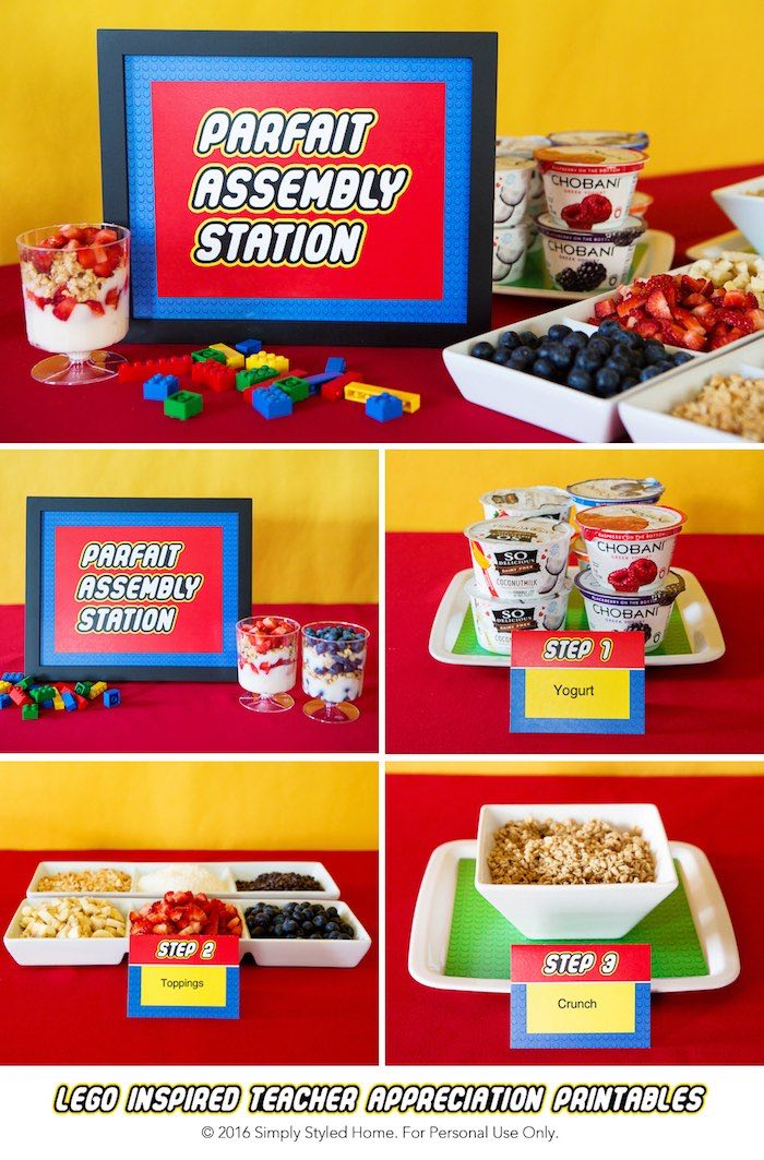 Parfait Assembly Station from a Lego Inspired Teacher Appreciation Party via Kara's Party Ideas! KarasPartyIdeas.com (12)