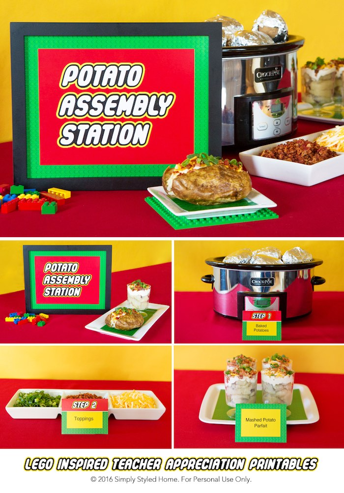Potato Bar From A Lego Inspired Teacher Appreciation Party Via Karas Ideas KarasPartyIdeas