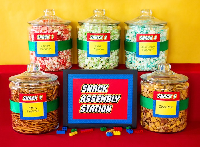 Snack Assembly Station From A Lego Inspired Teacher Appreciation Party Via Karas Ideas KarasPartyIdeas