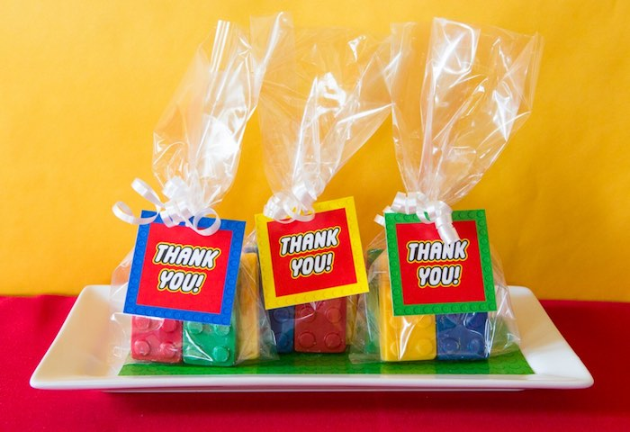 Chocolate Lego Block Favors from a Lego Inspired Teacher Appreciation Party via Kara's Party Ideas! KarasPartyIdeas.com (8)