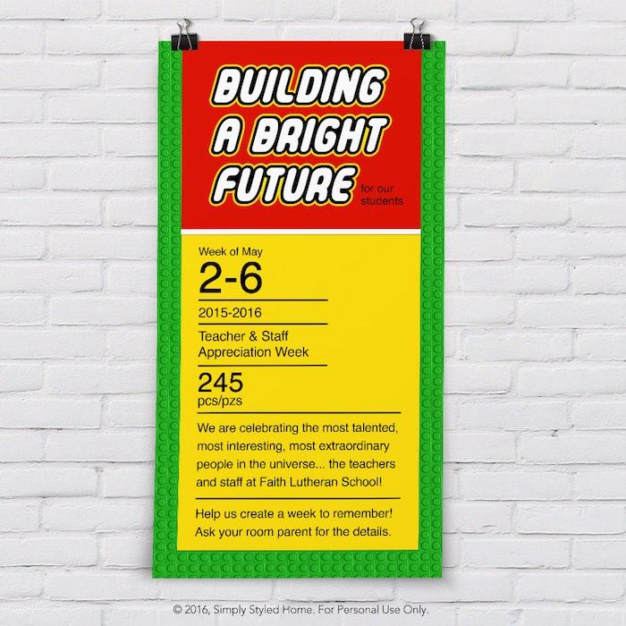 Invitation +Poster from a Lego Inspired Teacher Appreciation Party via Kara's Party Ideas! KarasPartyIdeas.com (6)