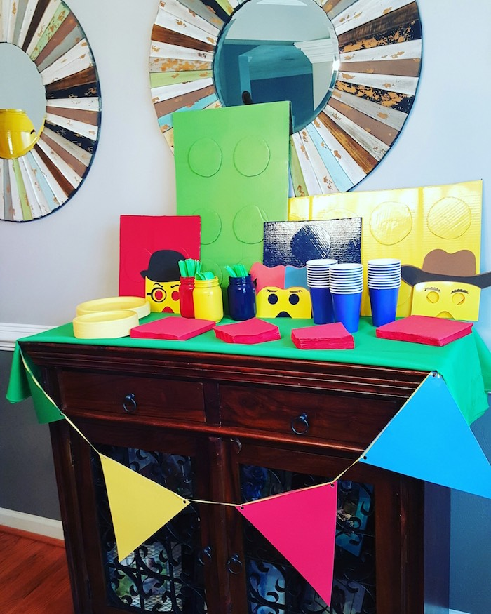 Partyware Table from a Lego Themed Birthday Party via Kara's Party Ideas | KarasPartyIdeas.com (6)