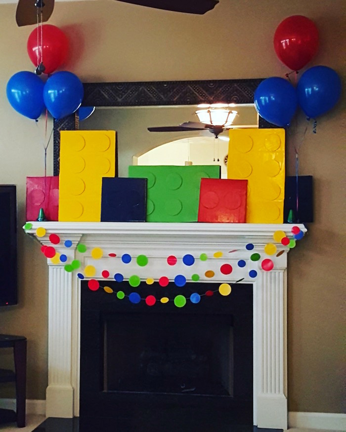Fireplace Decor from a Lego Themed Birthday Party via Kara's Party Ideas | KarasPartyIdeas.com (5)