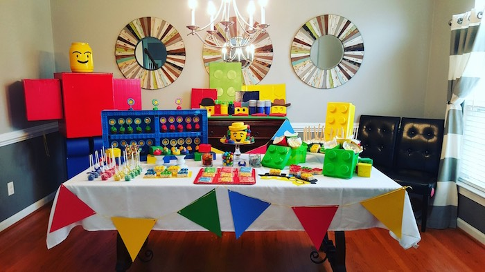 Dessert Table from a Lego Themed Birthday Party via Kara's Party Ideas | KarasPartyIdeas.com (3)