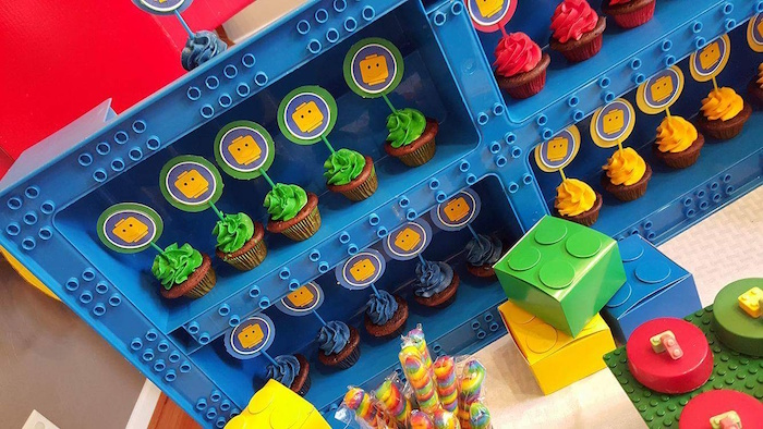 Cupcake Display from a Lego Themed Birthday Party via Kara's Party Ideas | KarasPartyIdeas.com (14)