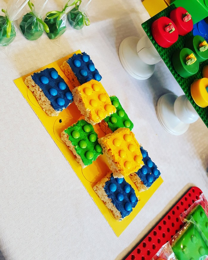 Lego Rice Krispie Treats from a Lego Themed Birthday Party via Kara's Party Ideas | KarasPartyIdeas.com (10)