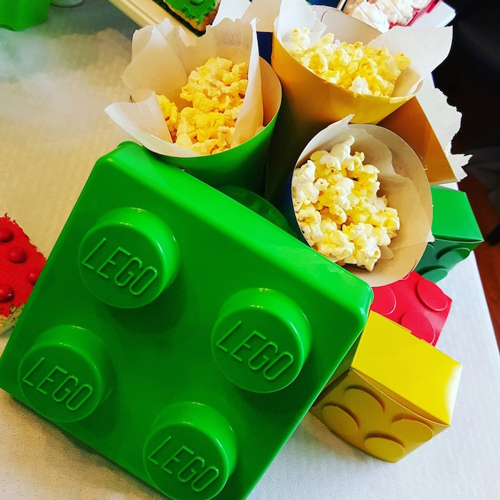 Popcorn Cones from a Lego Themed Birthday Party via Kara's Party Ideas | KarasPartyIdeas.com (8)