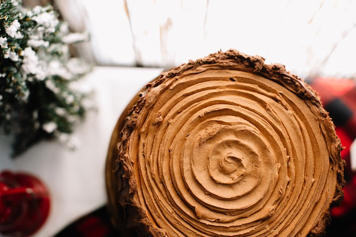 Top-view of a Wood Stump Cake from a Little Lumberjack Birthday Party via Kara's Party Ideas | The Place for All Things Party KarasPartyIdeas.com (18)