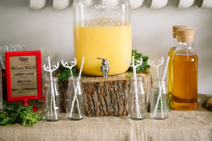 Drink Station from a Little Lumberjack Birthday Party via Kara's Party Ideas | The Place for All Things Party KarasPartyIdeas.com (7)