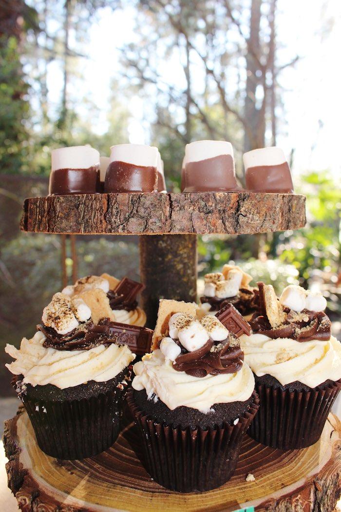 Cupcakes + Chocolate Covered Marshmallows from a Little Lumberjack Birthday Party via Kara's Party Ideas KarasPartyIdeas.com (28)