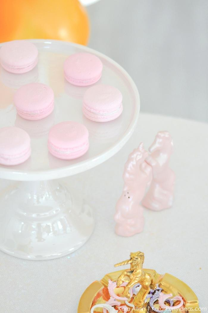 Macarons at a Unicorn themed birthday party by Kara's Party Ideas | Kara Allen | KarasPartyIdeas.com