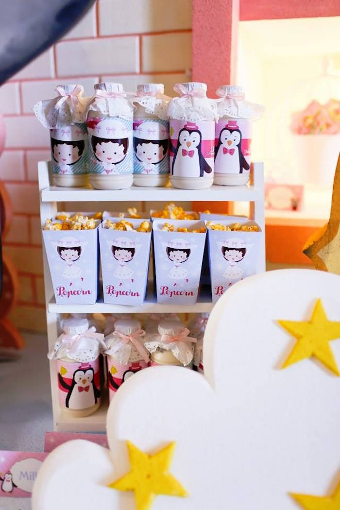 Drinks + Popcorn from a Mary Poppins Themed Birthday Party via Kara's Party Ideas KarasPartyIdeas.com (16)