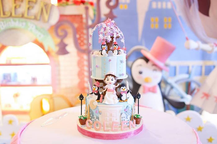 Cake from a Mary Poppins Themed Birthday Party via Kara's Party Ideas KarasPartyIdeas.com (14)