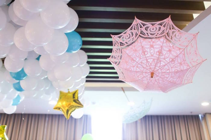 Balloon Canopy + Hanging Umbrella from a Mary Poppins Themed Birthday Party via Kara's Party Ideas KarasPartyIdeas.com (12)