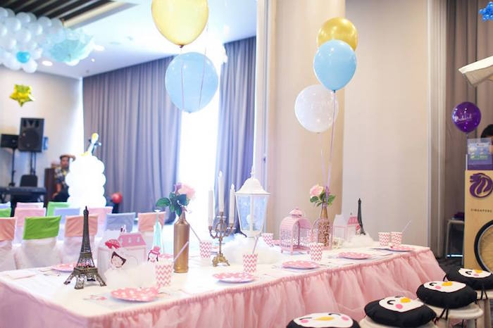 Guest Table from a Mary Poppins Themed Birthday Party via Kara's Party Ideas KarasPartyIdeas.com (6)