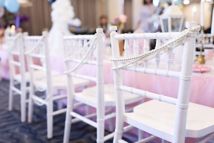 Chairs adorned with Pearl Bead Strands from a Mary Poppins Themed Birthday Party via Kara's Party Ideas KarasPartyIdeas.com (2)
