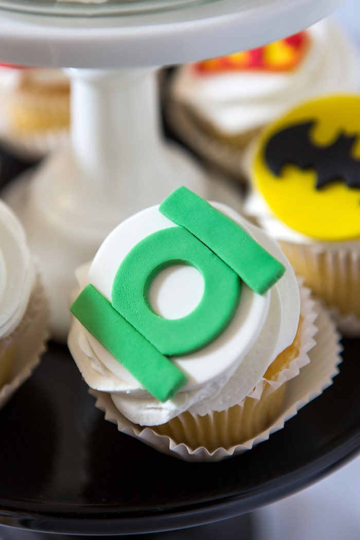 Green Lantern-inspired Cupcake from a Modern Justice League Birthday Party via Kara's Party Ideas KarasPartyIdeas.com (38)