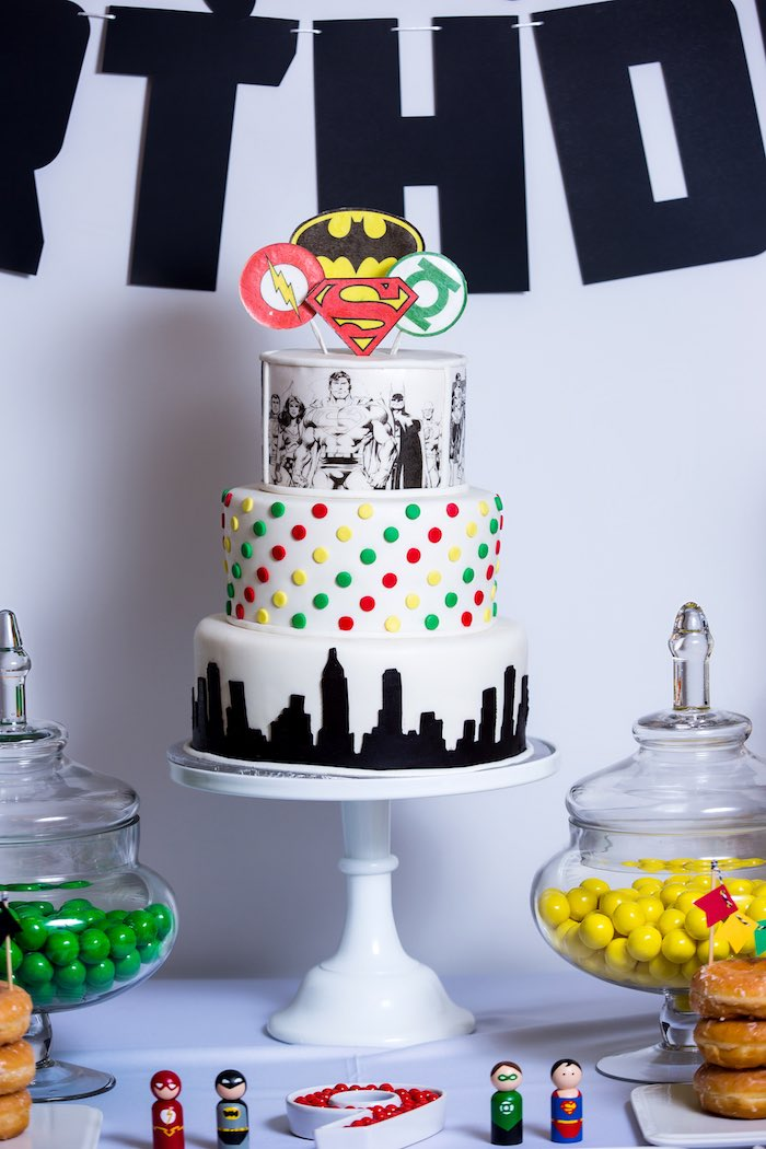 Cake from a Modern Justice League Birthday Party via Kara's Party Ideas KarasPartyIdeas.com (37)
