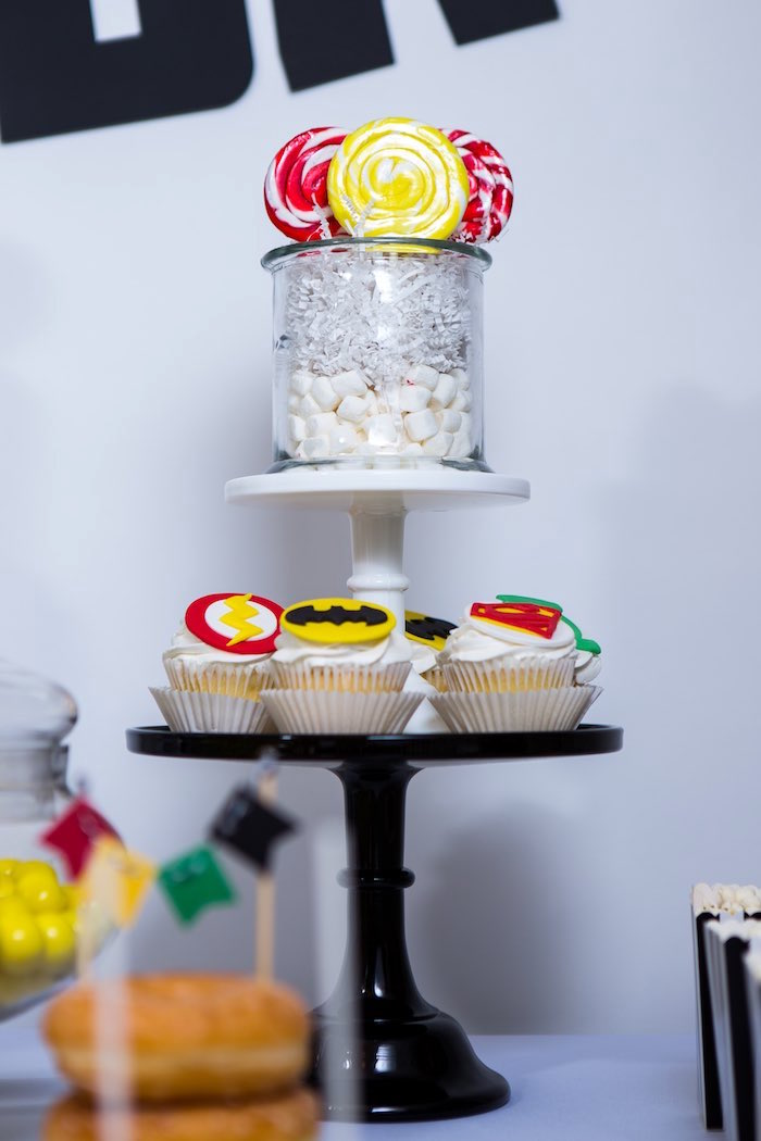 Lollipops + Cupcakes from a Modern Justice League Birthday Party via Kara's Party Ideas KarasPartyIdeas.com (33)