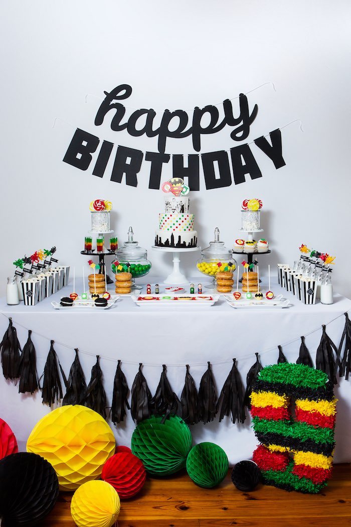 Dessert Table from a Modern Justice League Birthday Party via Kara's Party Ideas KarasPartyIdeas.com (51)