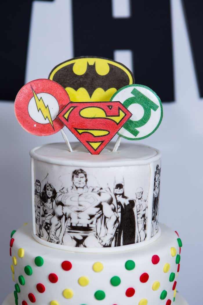 Cake Detail from a Modern Justice League Birthday Party via Kara's Party Ideas KarasPartyIdeas.com (32)