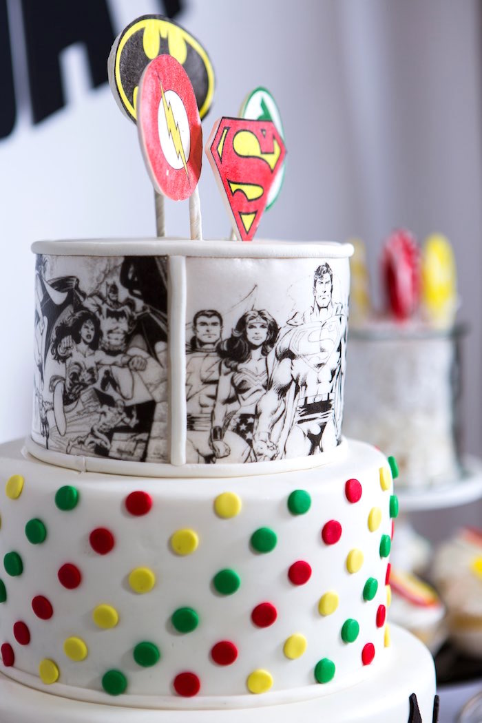 Cake Detail from a Modern Justice League Birthday Party via Kara's Party Ideas KarasPartyIdeas.com (31)