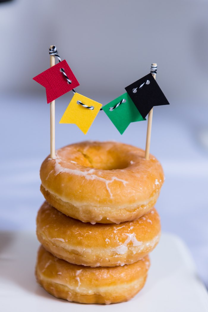 Stacked Doughnut Tower from a Modern Justice League Birthday Party via Kara's Party Ideas KarasPartyIdeas.com (30)