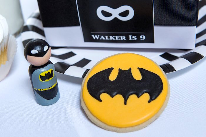 Batman Cookie + Peg Doll from a Modern Justice League Birthday Party via Kara's Party Ideas KarasPartyIdeas.com (24)