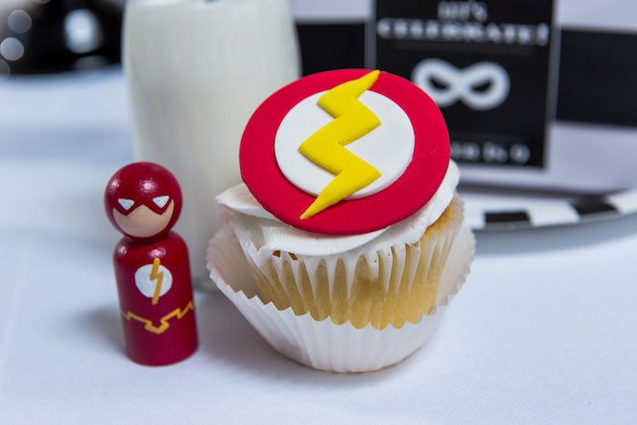 The Flash Peg Doll + Cupcake from a Modern Justice League Birthday Party via Kara's Party Ideas KarasPartyIdeas.com (23)